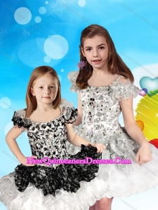 Cheap Beaded and Ruffled Straps Little Girl Pageant Dress with Cap Sleeves