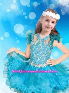 Classical Beaded Baby Blue Short Little Girl Pageant Dress with Open Back