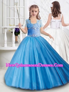Cute Really Puffy Tulle Beaded Mini Quinceanera Dress with Straps