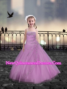 Cute Spaghetti Straps Beaded Pink Mini Quinceanera Dresses in Tulle