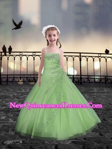 Cute Spaghetti Straps Spring Green Mini Quinceanera Dresses with Beading
