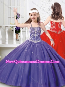 Cute Straps Beaded Mini Quinceanera Dress in Tulle for 2016