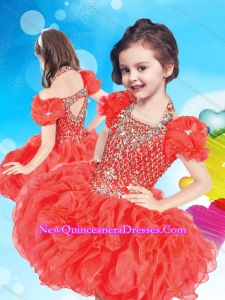 Inexpensive Halter Top Short Little Girl Pageant Dress with Beading and Ruffles