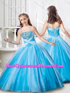 Latest Spaghetti Straps Beaded Mini Quinceanera Dress in Baby Blue