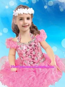 Most Popular Halter Top Organza Short Little Girl Pageant Dress in Rose Pink
