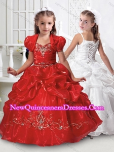 New Beaded and Bubble Red Mini Quinceanera Dress with Spaghetti Straps