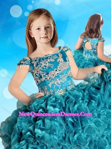 Hot Sale Straps Cap Sleeves Little Girl Pageant Dress in Teal