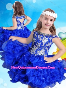 New Arrivals Beaded and Ruffled Scoop Little Girl Pageant Dress in Royal Blue