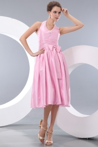 Pink Empire Halter Tea-length Taffeta Beading and Bowknot Dama dresses