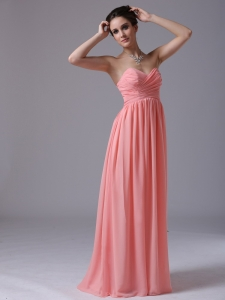 Watermelon Sweethear Floor-length 2013 Dama Dress Ruched