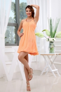 A-Line Halter Chiffon Mini-length Homecoming Dama Dress Orange