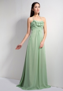 Apple Green Empire Halter Brush Train Chiffon Ruch Dama Dress