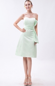 Apple Green Strapless Mini-length Taffeta Ruch Dama Dresses for Quinceanera