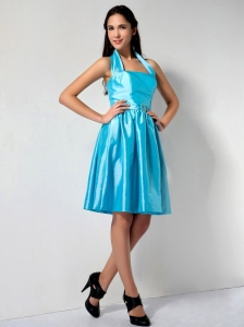 Aqua Blue A-line Halter Knee-length Taffeta Dama Dress