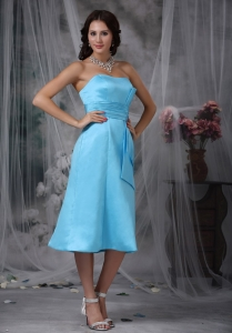 Aqua Blue Column Strapless Tea-length Taffeta Ruch Quinceanera Dama Dresses
