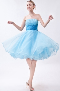 90a9c14d2e9  255.36  112.75  Baby Blue A-line Strapless Knee-length Organza Ruch Dama  Dresses for Quinceanera