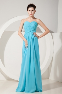 Baby Blue Empire Sweetheart Floor-length Chiffon Ruch Dama dresses