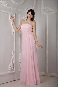 Baby Pink Empire Strapless Floor-length Chiffon Beading Dama dresses