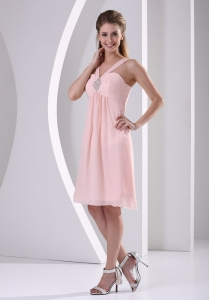 Baby Pink Straps V-neck Empire Knee-length Short Dama Dresses for Quinceanera With Beading Chiffon