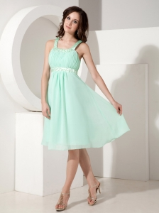Beautiful Empire Strap Knee-length Chiffon Beading Quinceanera Dama Dresses