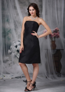 Black A-line Strapless Knee-length Satin Ruch Dama Dress