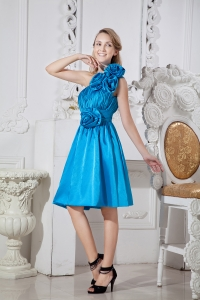 f241674e6da  312.55  116.59  Blue A-line One Shoulder Knee-length Taffeta Hand Made  Flowers Dama Dresses for
