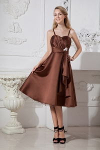 Brown A-line Spaghetti Straps Tea-length Satin and Organza Beading Dama Dresses for Quinceanera