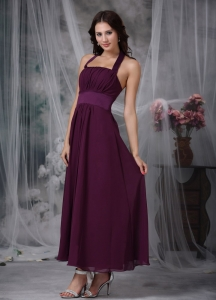 Burgundy Empire Halter Ankle-length Chiffon Ruch Dama Dress