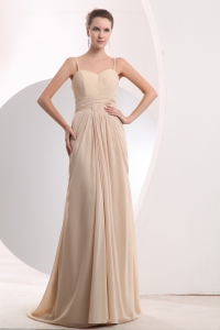Champagne Empire Straps Brush Train Chiffon Ruch Dama Dress