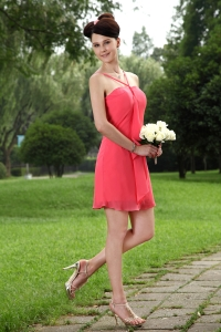 Coral Red Empire Straps Mini-length Chiffon Dama Dresses for Quinceanera