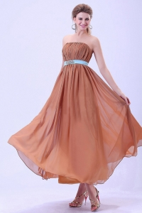 Custom Made For Rust Red Dama Dress With Blue Belt and Ruching Chiffon Ankle-length