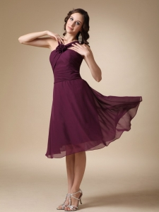 Dark Purple A-line V-neck Knee-length Chiffon Hand Made Flower Quinceanera Dama Dresses