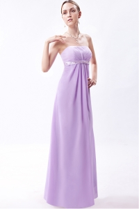 Empire Strapless Floor-length Chiffon Embroidery Dama Dresses for Quinceanera