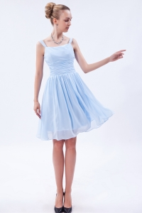 Empire Straps Knee-length Chiffon Ruch Dama Dresses for Quinceanera