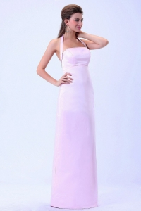 Halter Column Baby Pink For 2013 Dama Dress Satin