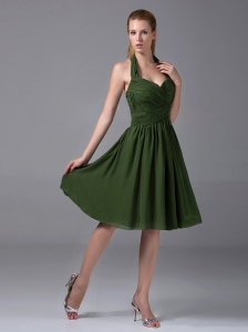 Halter Ruched Chiffon A-Line Knee-length Olive Green Dama Dress