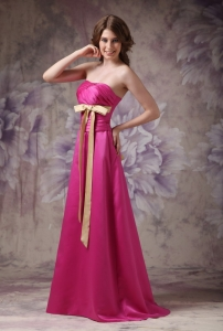 Hot Pink Column Strapless Brush Train Satin Ruch and Bows Quinceanera Dama Dresses