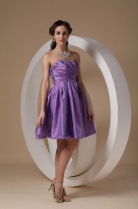 Lavender A-line Strapless Mini-length Taffeta Ruch Dama Dress