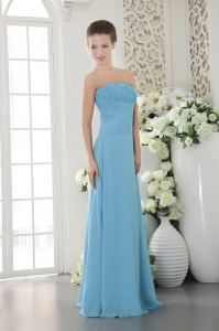 Light Blue Empire Strapless Floor-length Chiffon Ruch Dama dresses