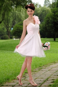 Light Pink A-line One Shoulder Mini-length Tulle Hand Made Flowers Dama Dresses for Quinceanera