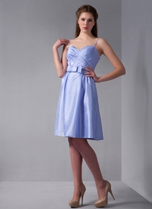 Lilac Column Spaghetti Straps Knee-length Taffeta Ruch Dama Dress