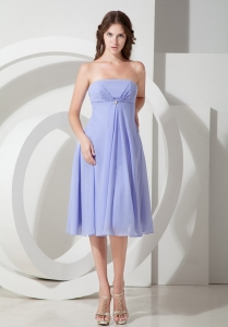 Lilac Empire Strapless Tea-length Chiffon Beading Dama Dresses for Quinceanera