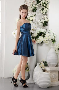 Navy Blue A-line Strapless Short Taffeta Pleat Dama Dresses for Quinceanera