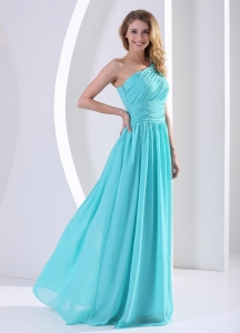 One Shoulder Ruched Bodice Aque Blue Quinceanera Dama Dresses