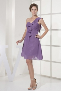 One Shoulder and Ruch For Purple Dama Dress With Chiffon and Mini-length
