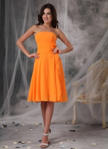 Orange Empire Strapless Knee-length Chiffon Handle Flowers Quinceanera Dama Dresses