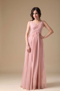 Pink Empire V-neck Floor-length Chiffon Ruch Quinceanera Dama Dresses