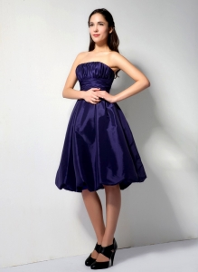 Purple A-line Strapless Knee-legnth Taffeta Ruch Dama Dresses for Quinceanera