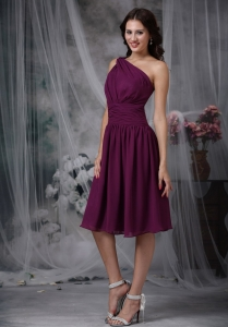 Purple Empire One Shoulder Knee-length Chiffon Ruch Dama Dress