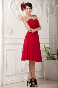 Red A-line / Princess Sweetheart Knee-length Chiffon Ruch Dama dressses